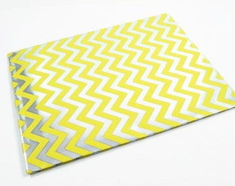 CHEVRON WRAPPING PAPER - Metallic Silver and Yellow Chevron Folded Wrapping Paper (49.5cm x 70cm)