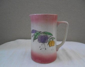 Vintage Ironstone Pitcher - Pink and White