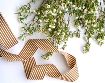 Brown and Ivory Striped Ribbon - Shabby Chic - Free Shipping