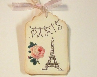 Paris Tags, Vintage Inspired, French, Shabby Chic, Eiffel Tower, Gift Tags, Gift Bag Tags, Favor Bag Tags, Hang Tags, Labels, Set of 6 or 12