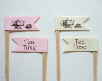Tea Time Cupcake Flag, Toppers, Tea Party,  Bridal Shower, Food Picks, Set of 12