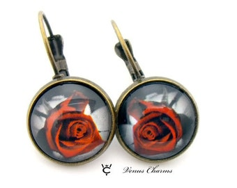 "Antique Bronze Earrings ""GOTHIC ROSE"""