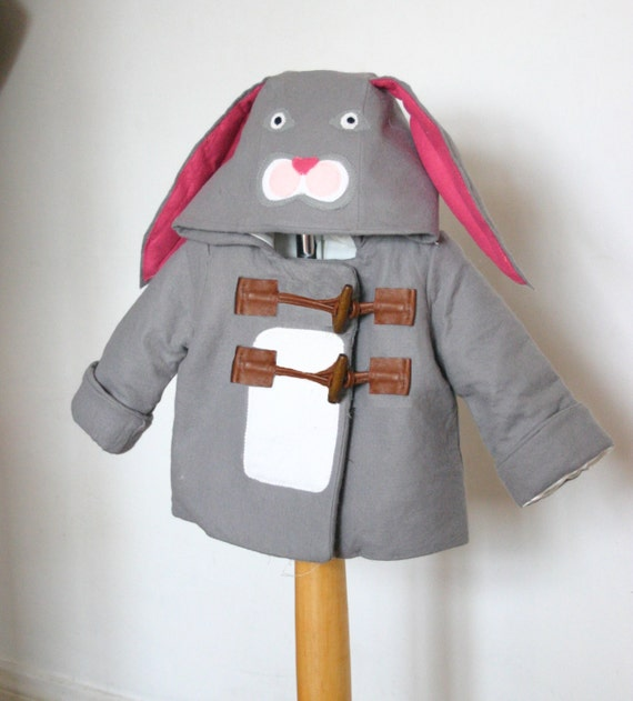 Childrens and Babies Miss or Mr Rabbit Winter Felt Duffle Coat,  Handmade to measure. Now with pockets!