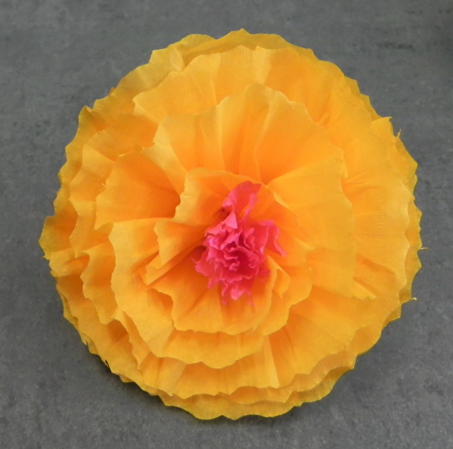 Mexican Crepe Paper Flower Hair Clip 2 tone Pink Yellow