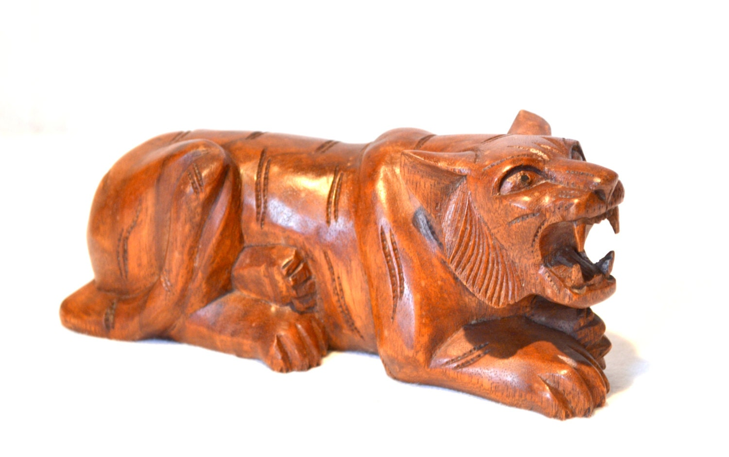 Unique solid wood tiger carving hand carved