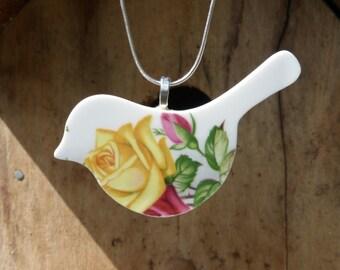 vintage china bird pendant - eco jewellery - Imperial bone china - yellow rose bird pendant - upcycled china - broken china