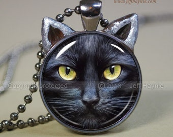 CAT NECKLACE, Black Cat pendant // Halloween necklace resin pendant // black cat jewelry // Black Cat Jewelry Picture Pendant // BLK1