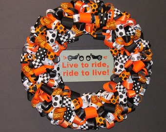 Motorcycle Riders Ribbon Wreath