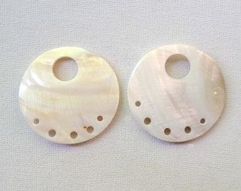 Round Large Circle Shell 6 Hole Pendants with Top Hole - 2pcs