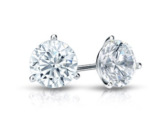 14k Gold 3-Prong Martini Round Diamond Stud Earrings 1.00 ct. tw. (H-I, I2)