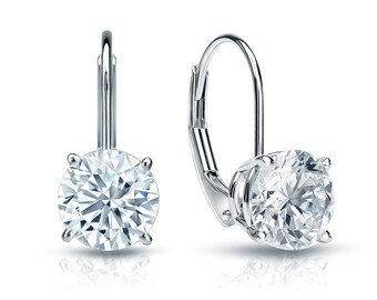 14k White Gold Lever Back Round Diamond Stud Earrings 2.00 ct. tw. (G-H, SI2)