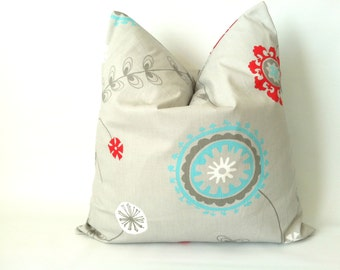 aqua grey red pillow covers 20 x 20 set of two red aqua gray modern floral pillows tiffany. Black Bedroom Furniture Sets. Home Design Ideas