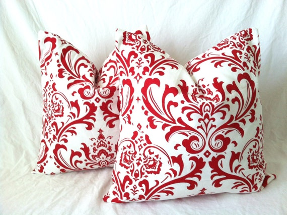 christmas pillow covers one 16 x 16 red by theseafoamcottage. Black Bedroom Furniture Sets. Home Design Ideas