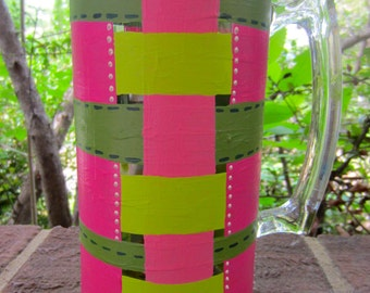 Hand Painted Apple Blossom Pink and Green Woven Illusion Wine, Beer, or Martini Glass