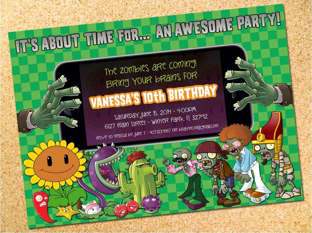 Plants versus zombies party invitations invite green plants vs zombies inspired birthday party by owenandsally stopboris Gallery