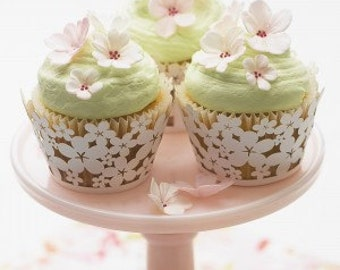 12 Cherry blossoms cupcake or cake toppers
