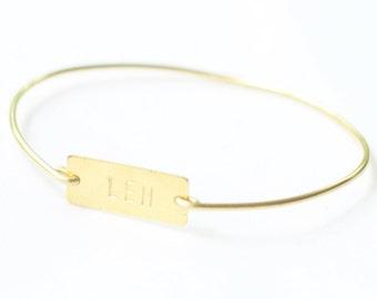 Girls Personalized Bracelet, Girls Brass Initial Bracelet, Hand Stamped Brass Bangle, Personalized Jewelry, Monogram Bracelet, ID Bracelet