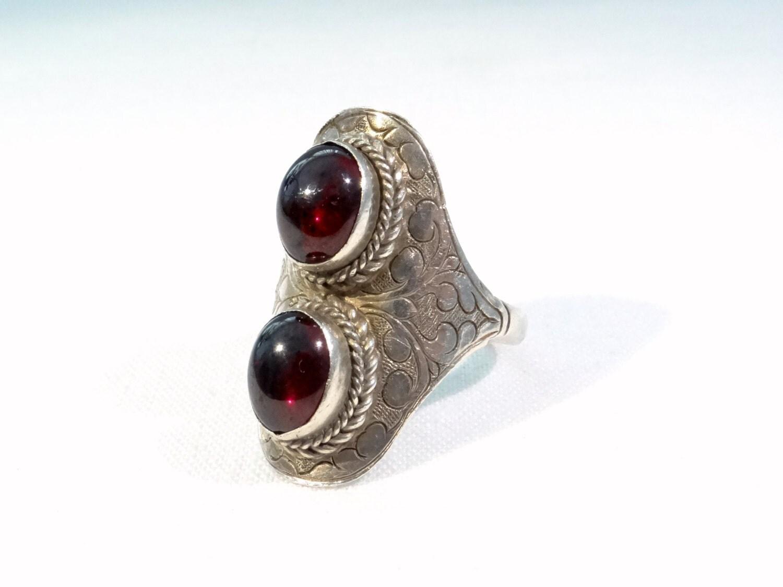 antique garnet ring sterling silver size 9 19 0 mm