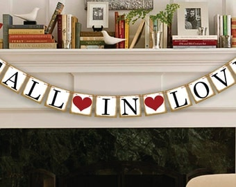 Fall In Love Banner Bridal Shower Decorations - Wedding Banner- Wedding Garland- Sign - Photo Prop