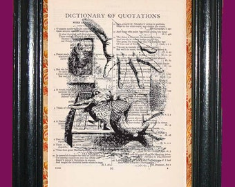 Alice in Wonderland White Rabbit in the Cupboard - Vintage Dictionary Book Page Art Upcycled Page Art Dictionary Art Print