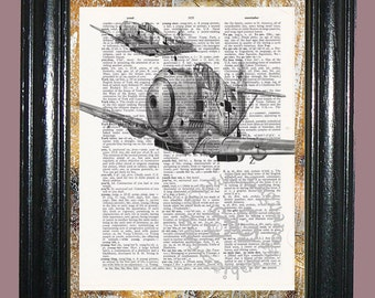 WWII Fighter Planes Art - Vintage Dictionary Book Page Art Print Upcycled Book Page Art Mixed Media Art Plane Print