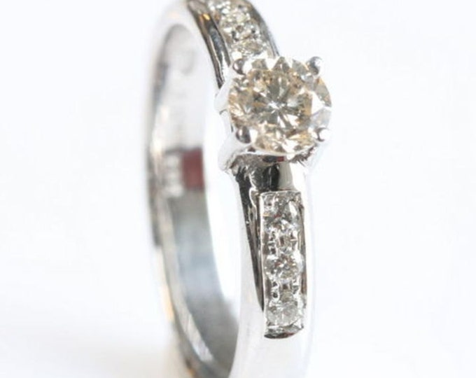 Diamond Engagement Ring, Solitaire 14K White Gold Ring, 0.40  Carats , Women Jewelry, Size Selectable