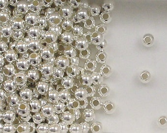 Sterling Silver 4mm Round Seamless Look Spacer Beads, Choice of Lot Size