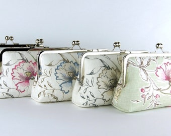 Bridesmaid Clutch, Flowers collection, Silk Lining, Bridesmaid Gift, Wedding clutch