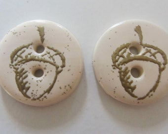 Embossed Acorn Buttons ~ Set of 2