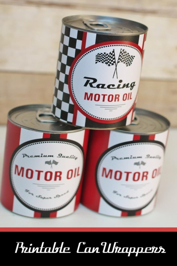 Motor Oil Can Wrappers Party Decoration Race Car Instant