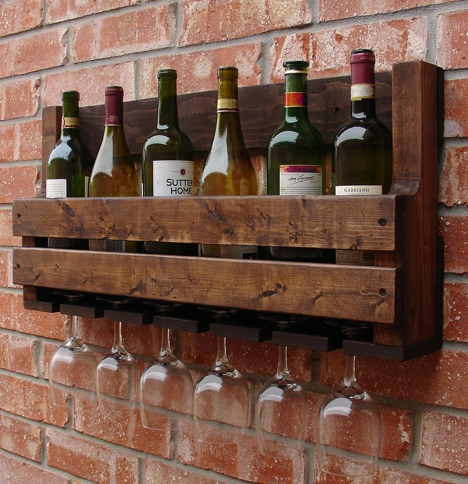 Simply Rustic 8 Bottle Wall Mount Wine Rack With 6 Glass Slot