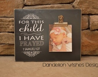 For This Child I Have Prayed, Baby Gift, Pregnancy Announcement, Baby Shower Gift, 8x10 photo board;