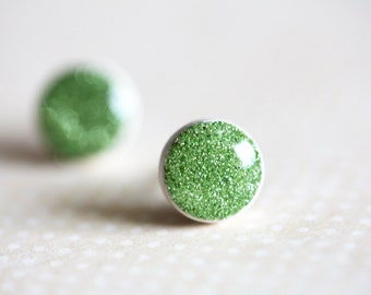 Green Glitter Studs Simple Small Earrings Post - grass green studs, nature inspired, spring jewelry