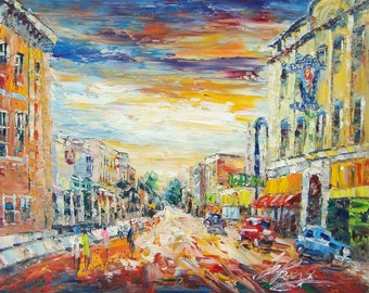 Main Street IN THE MORNING, Miles City, Montana-Pen King -A2