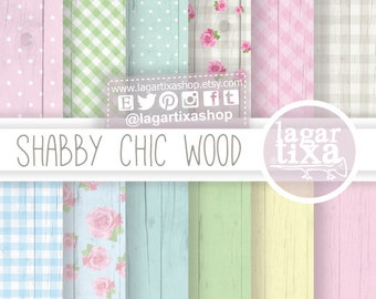 Shabby Chic Digital paper  Wood Distressed  Roses Flowers background blog invitations baby shower pastel colors blue pink yellow green white