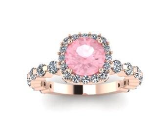 Diamond Engagement Ring Diamond Halo Engagement Ring Morganite Engagement Ring 14K Rose Gold Ring with 6.5mm Round Morganite Center - V1085