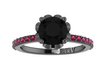 Black Diamond Pink Sapphire Engagement Ring 14K Black Gold Wedding Ring with 1.15ct Round Black Diamond Center Gemstone Engagement - V1006