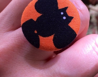 Halloween bat adjustable ring