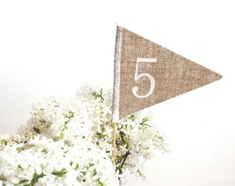 Rustic Wedding Table number rustic table number burlap table numbers , table number flag rustic table decor personalized wedding centerpiece