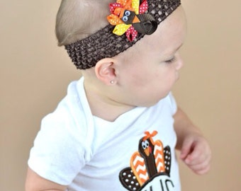 Turkey thanksgiving headband sculpted hair clip bow