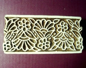 Border Wood Flower Stamp Hand Carved Indian Print Block (B16)