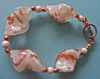 Chunky White and Copper Art Glass Bracelet