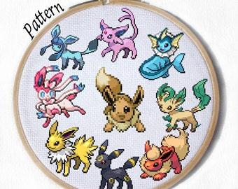 All Eeveelutions- PDF 9 Cross stitch patterns- Eevee, Jolteon, Flareon, Vaporeon, Umbreon, Espeon, Leafeon, Glaceon and Sylveon