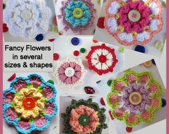 Fancy Flowers with Button Centers Crochet Pattern In Several Sizes