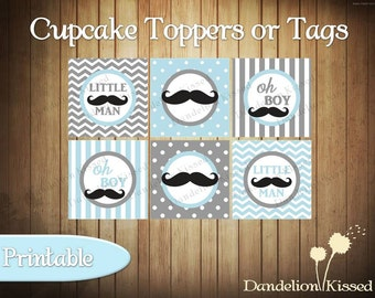 Baby Blue Gray Mustache Baby Boy Shower Digital Cupcake Toppers Favor Tags