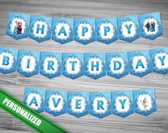 Frozen Happy Birthday Banner - PERSONALIZED with name