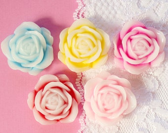 5 Pcs Two Colored Big Blooming Rose Cabochons -35mm