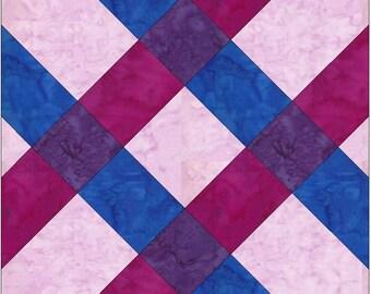 Plaid Knots Chain Paper Piece Foundation Quilting Block Pattern