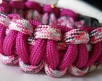 Pink with Pink Stripes 5.5 Inch Paracord Bracelet Item #137