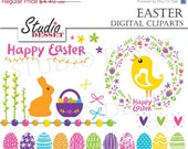 ON SALE Easter Eggs Clip art, Spring Digital Clip Art Pack with Chicken, Bunny and Wreath, Colorful Holidays Element, C179